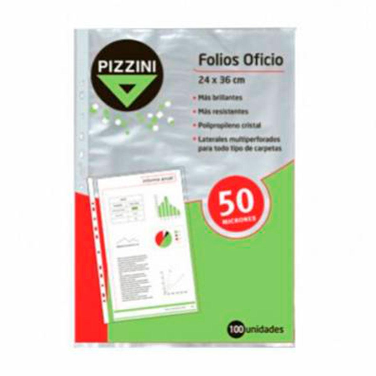 50FOX100 PIZZINI                                                      | FOLIOS OFICIO 24X36CM POLIPROPILENO 50 MICRONES X 100 UNIDADES