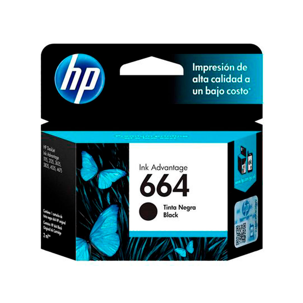 F6V29AL HP                                                           | CARTUCHO HP 664 / F6V29AL NEGRO PARA HP DESKJET INK ADVANTAGE 1115, ALL-IN-ONE DESKJET INK ADVANTAGE 2135, 2675, 3635, 3775, 3785, 3787, 3835, 4535, 4675