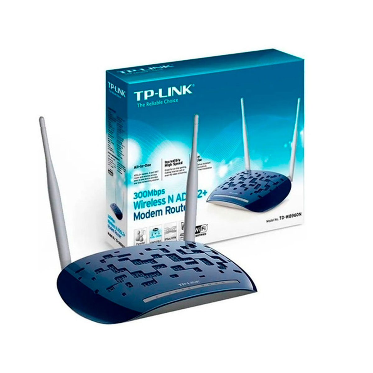 TD-W8960N TP-LINK                                                      | MODEM ROUTER TD-W8960N WIFI N ADSL2 300M